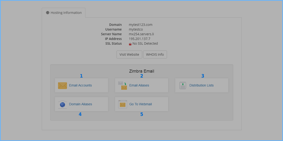 How to manage your ZIMBRA mail services account - Databáze